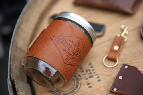Dad will love this durable mason jar drink cozy as a Father's Day gift! It's great for those hot summer months when a sweating glass can easily slip out of hands!