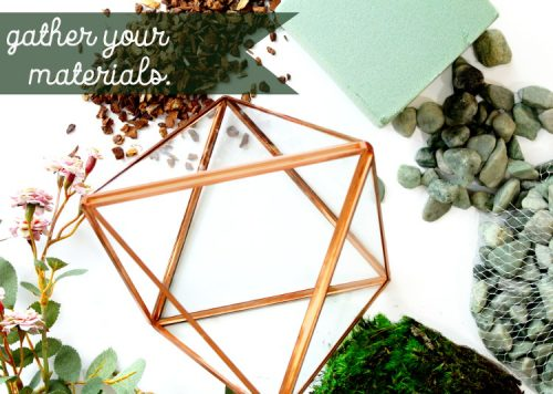 Learn how to create your own DIY geometric glass terrarium filled with faux plants! This easy tutorial will walk you through the steps to creating your own unique terrarium arrangement for your next home accent piece - all without the worry of watering and maintaining your plants.