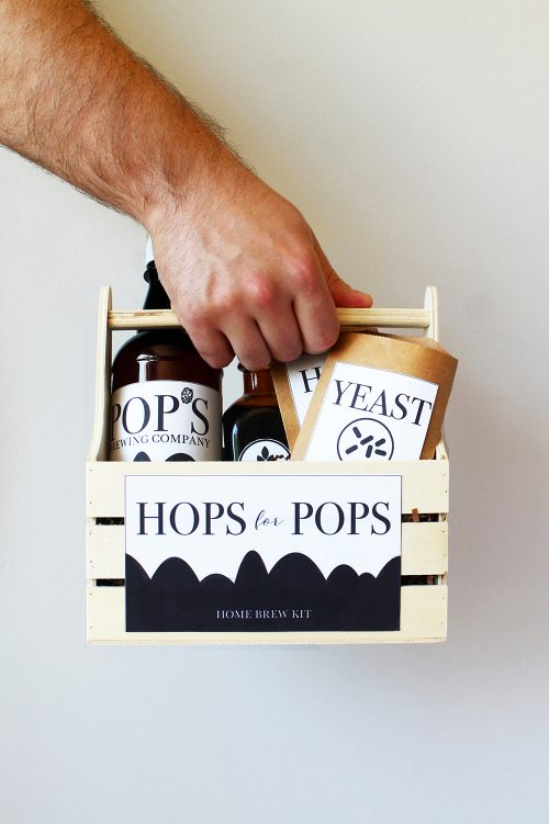 Gift Dad a DIY Homebrew Kit for Father's Day with free printable labels for the perfect package via SquirrellyMinds blog! Click through to learn more and to discover more great DIY Father's Day gift ideas!