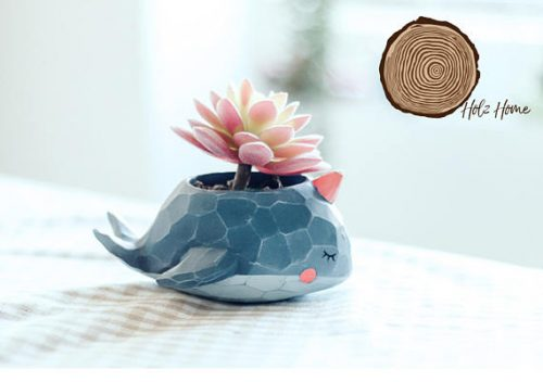 DIY succulent container garden! This handmade narwhal succulent planter from Holz Home is an easy way to create your own succulent container garden!