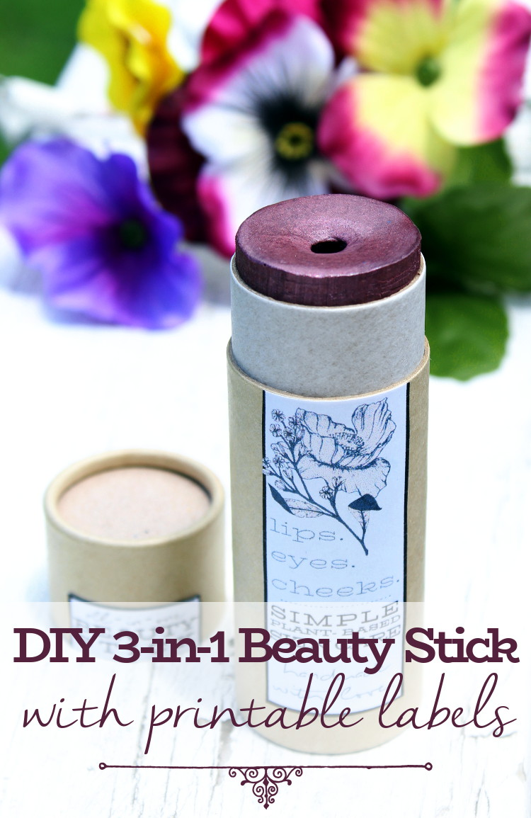 Vegan DIY All-in-One Beauty Stick! Learn how to create your own rose scented DIY All-in-One beauty stick for lips, eyes and cheeks. This vegan plant based beauty stick glides onto skin with ease and blends beautifully. It also makes a great eyeshadow base!