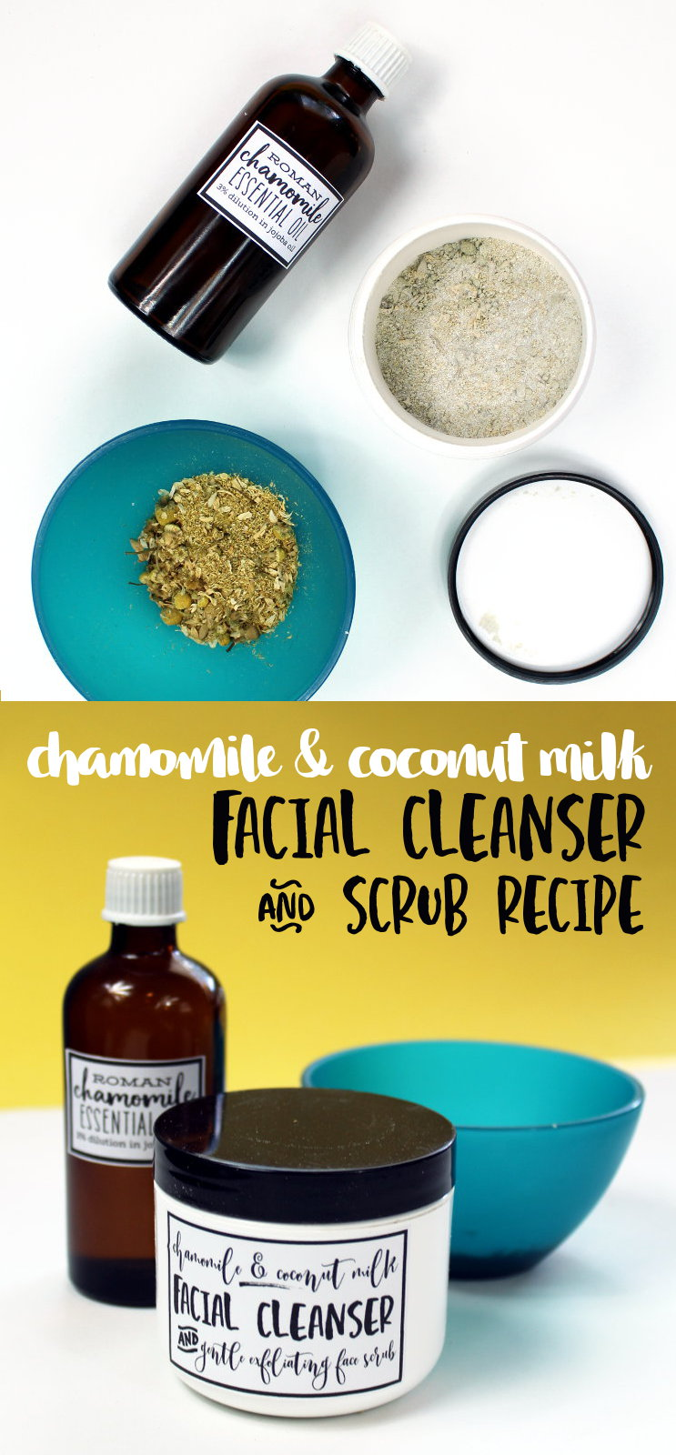 Coconut Milk Facial Cleanser Recipe! Looking for a vegan facial cleanser that's both gentle on skin and easy to customize? Then give my new chamomile & coconut milk facial cleanser recipe a try! Made with soothing chamomile, coconut milk and colloidal oatmeal, this easy facial cleanser and scrub gently exfoliates with bamboo extract for a healthy looking complexion!