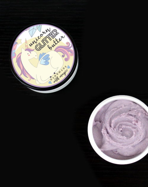 Unicorn Glitter Butter Recipe! This magical unicorn glitter butter recipe is perfect for parties and summer festivals! Scented with a sweet candy crush fragrance oil, this lavender colored unicorn glitter butter leaves a lovely layer of iridescent sparkly glitter on skin wherever it's applied!