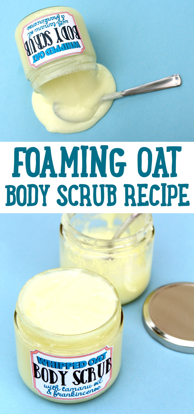 Oat Body Scrub Recipe! This foaming oat body scrub recipe is handmade with skin soothing oat butter, tamanu oil and frankincense essential oil. Both frankincense and tamanu oil are purported to have anti-aging skin care properties and are therefore used in a variety of products that help to diminish the appearance of fine lines and wrinkles.
