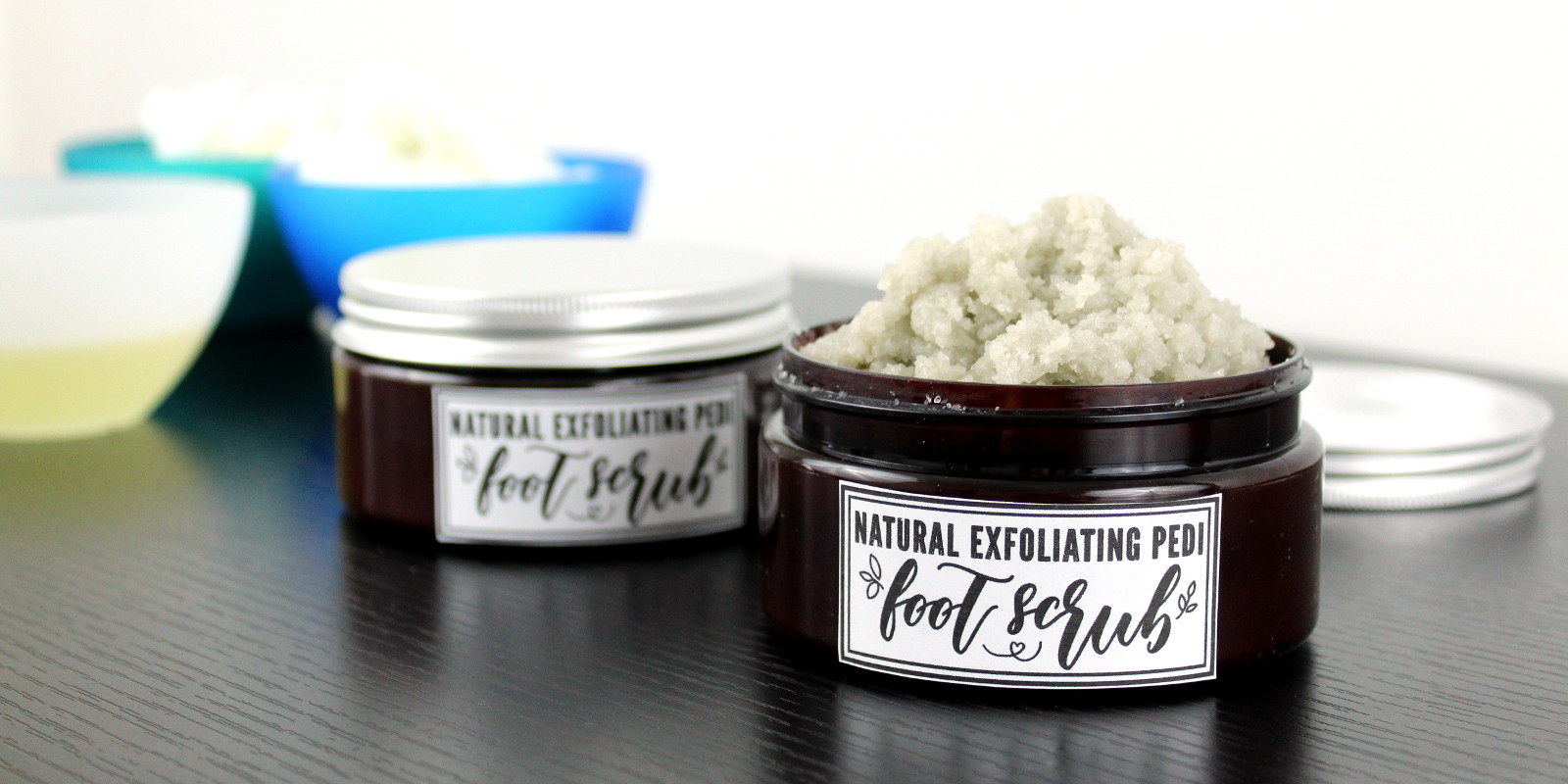 Pedi Foot Scrub Recipe with Coconut Oil. Natural foot care recipe for healthy looking skin. This super exfoliating pedi foot scrub recipe with coconut oil will leave your feet feeling like you just had a professional spa pedicure! Made with all natural ingredients, this pedi foot scrub DIY exfoliates with fine sea salt and pumice. It then hydrates skin with shea butter and coconut oil for softer, smoother feet with every use! A natural clean beauty recipe for your natural skin care routine.