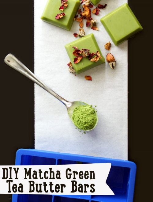 Matcha Green Tea Solid Lotion Bars DIY! These DIY Matcha Green Tea Butter Bars are made with skin nourishing tea seed oil and matcha green tea to create a luxurious non-greasy solid lotion bar that melts onto skin upon application. Unlike recipes for traditional solid lotions bars, these naturally green tinted Matcha Green Tea Butter Bars absorb quickly and won't leave your skin feeling greasy. #diy #antiaging #matchagreentea #beauty #skincare #solidlotion