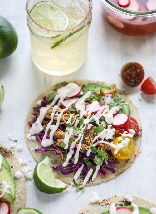 Beer Braised Chipotle Chicken Taco Recipe for Taco Tuesday via How Sweet It Is