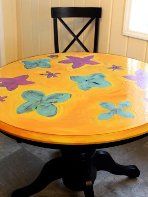 Kitchen Table Makeover! Brighten up your drab kitchen with a beautiful, bright kitchen table makeover! The great part about updating your old furniture is that not only is it a lot a less expensive than buying new, but it's also a great way to express your own personal style. So if you want to experiment beyond the traditional kitchen table makeover, repainting your kitchen table with actual art gives it a wonderfully fresh update!