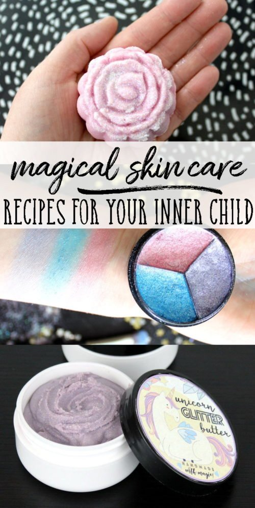 Unicorns,mermaids and fairies, oh my! Ten magical skin care recipes that will bring out your inner child! Fun soap tutorials, glitter lip balm and more!