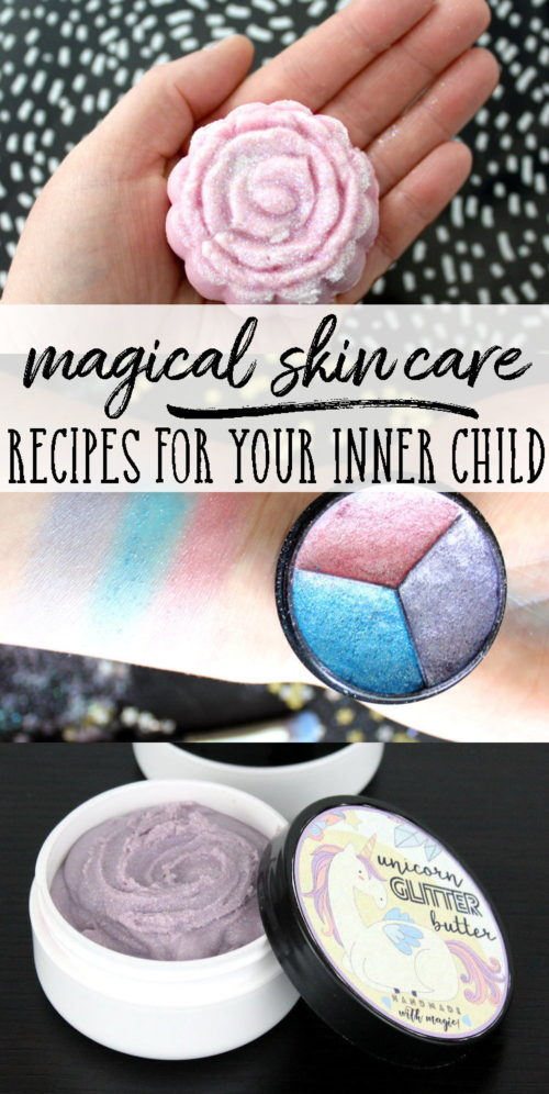 Unicorns, mermaids and fairies, oh my! Ten magical skin care recipes that will bring out your inner child! Fun soap tutorials, glitter lip balm and more!