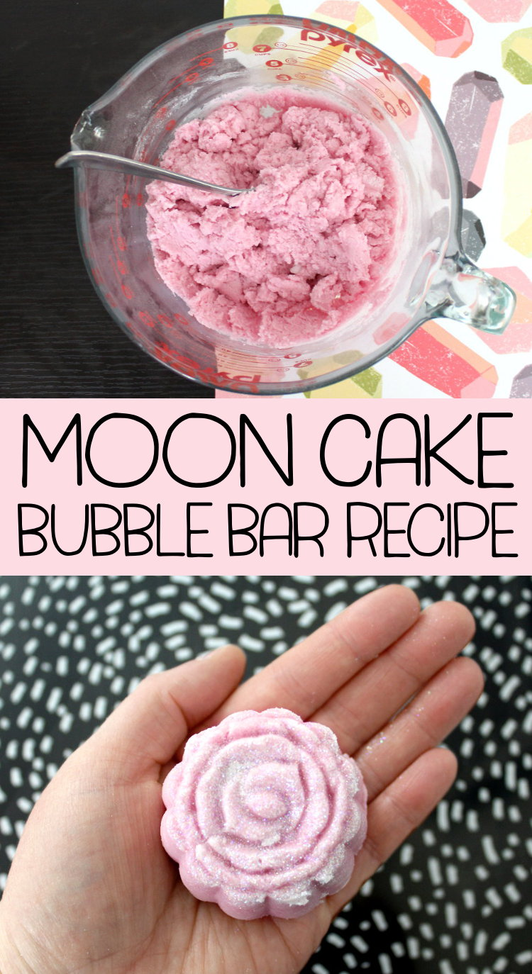 Moon Cake Bubble Bar Recipe! Learn how to create your own magical, fairy dusted moon cake bubble bars! This sweetly scented moon cake bubble bar recipe yields nine amazing glittery pink bubble bars for a massive bubble filled bath. Sip on a glass of prosecco in the tub while enjoy a relaxing bath that takes you back to those carefree days of your childhood!