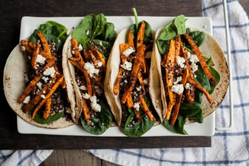 Crispy Quinoa & Mole Sweet Potato Taco Recipe for Taco Tuesday via Naturally Ella / A House in the Hills