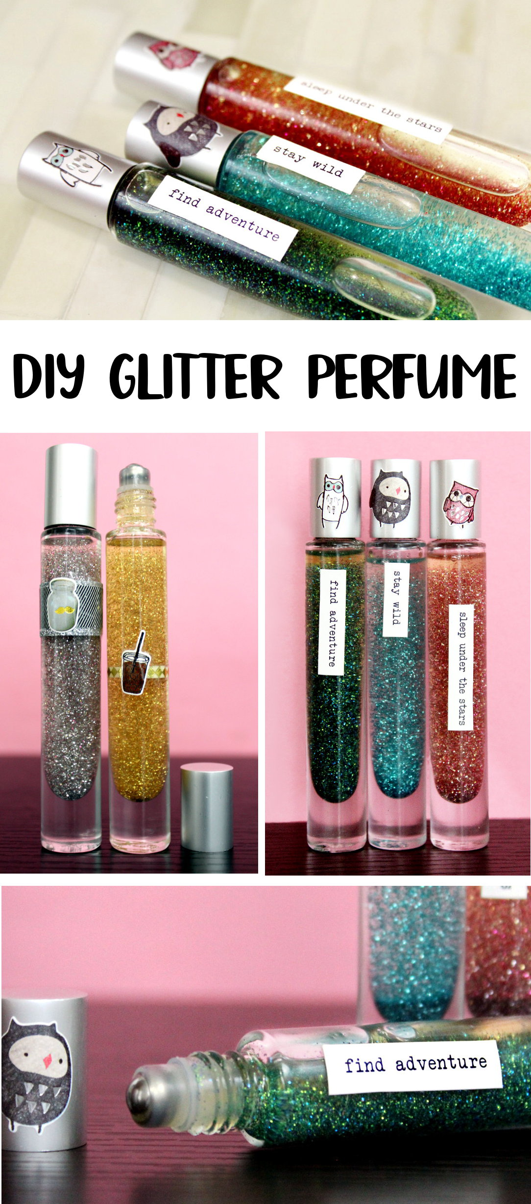 DIY Glitter Perfume for Your Inner Rockstar! True glitter fans continue to discover glitter EVERYWHERE - even after an OCD house cleaning. If you're a fan of glitter (and you totally know what I mean!) then you simply cannot pass up this tutorial for making your own awesome DIY glitter perfume!