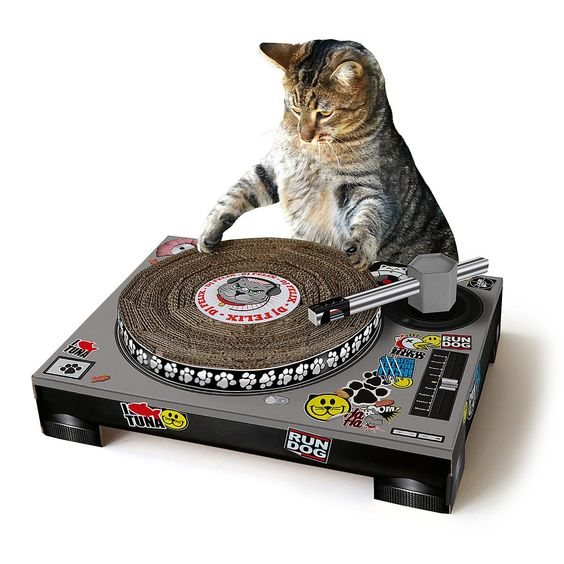 This turntable inspired cat scratching pad makes a unique gift for cat lovers who love their music! Find this and other fantastic pet gifts at UncommonGoods!