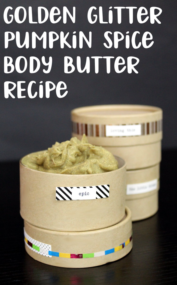 DIY Pumpkin Spice Body Butter! This party perfect, golden glitter pumpkin spice body butter recipe will have everyone raving about how amazing you smell! This homemade body butter is a must have for seasonal holiday parties. Not only does it smell just like everyone's favorite pumpkin pie, but it also moisturizes skin and makes it pop with glitzy eco-friendly glitter!
