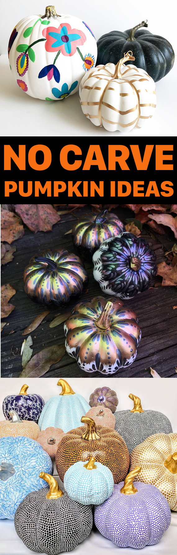 No Carve Pumpkin Ideas for Fall or Halloween! Are you looking for no carve pumpkin ideas for fall? These hand painted pumpkins are sure to make a stunning addition to your fall home decor! Whether you need inspiration for crafting your own no carve pumpkins or are looking to buy pre-made painted pumpkins, you'll simply love this painted fall pumpkin collection!