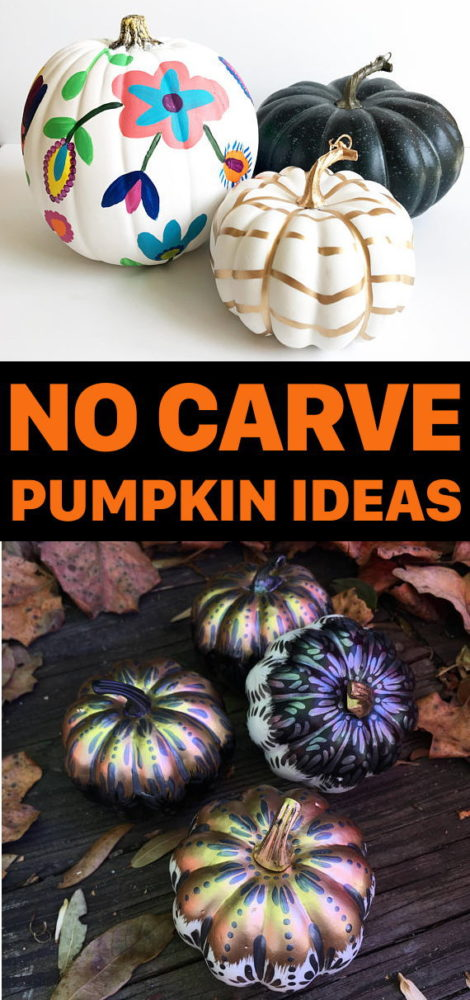 No Carve Pumpkin Ideas for Fall or Halloween! Are you looking for no carve pumpkin ideas for fall? These hand painted pumpkins are sure to make a stunning addition to your fall home decor! Whether you need inspiration for crafting your own DIY no carve pumpkins or are looking to buy pre-made painted pumpkins, you'll simply love this painted fall pumpkin collection!