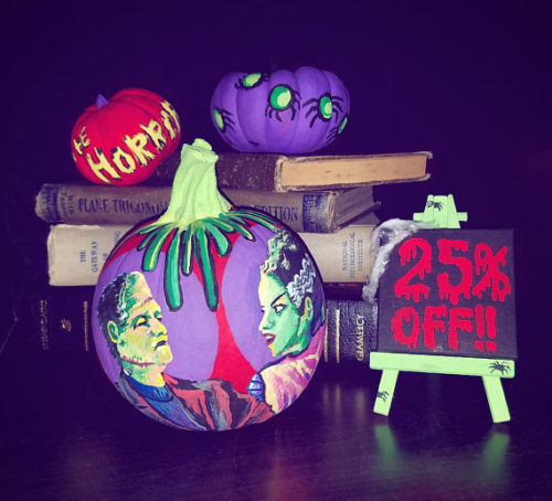 No Carve Halloween Pumpkin Ideas! Custom Painted Mr. &  Mrs. Frankenstein Halloween Pumpkins from Tori Draws Daily. These amazing hand painted pumpkins glow under a blacklight making them perfect for your upcoming Halloween party! And if the Frankensteins aren't your thing, you can request your own custom design!