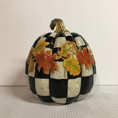 No Carve Pumpkin Ideas! Whimsical Checkered Painted Pumpkin from Michele Sprague Design. This whimsical hand painted resin painted pumpkin makes a grand addition to your fall decor inside or out!