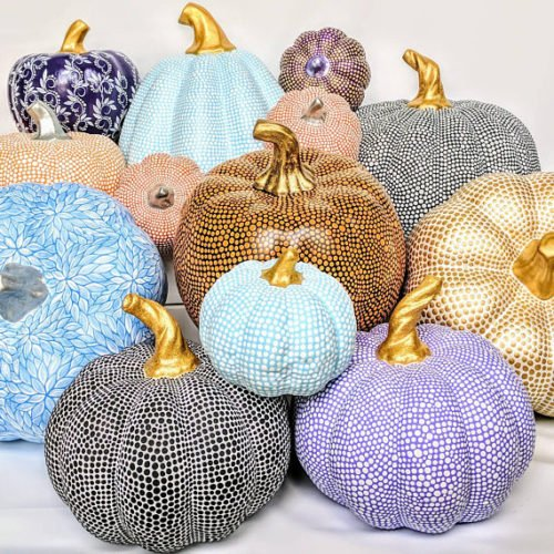 No Carve Pumpkin Ideas! Hand Painted Polka Dot Pumpkins for Fall from Pearle's Painting! These pumpkins are hand painted one dot at a time and made from polyresin to last a lifetime!