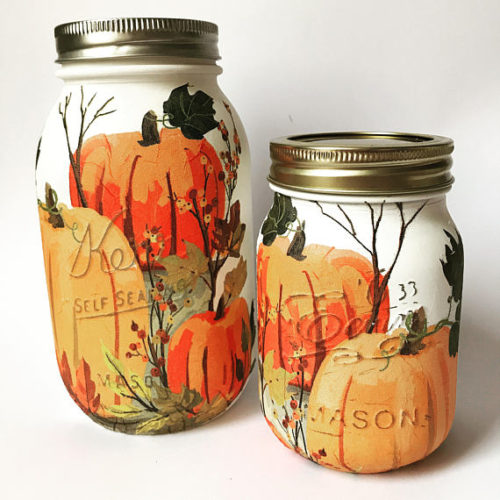 Hand Painted Fall Pumpkin Mason Jars from Natysha's Vintage Home. If painted pumpkins aren't really your style, how about pumpkin painted mason jars? These hand painted mason jars are painted with chalk paint, decoupaged and then sealed using finishing wax. Pop in a solar light and watch them glow!