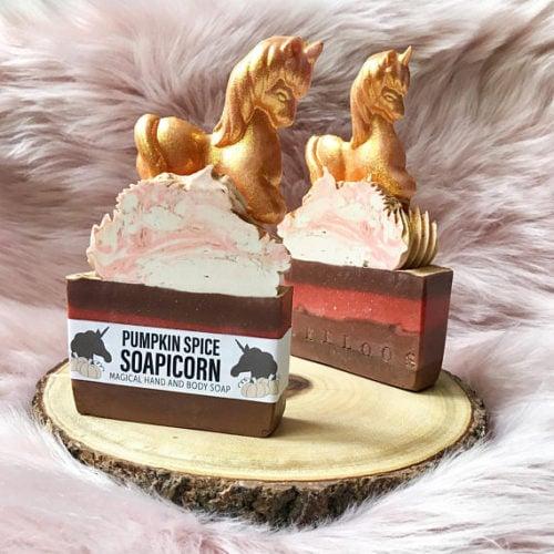 Pumpkin Spice Soapicorn Unicorn Artisan Soap for fall from LeeLoo Soap