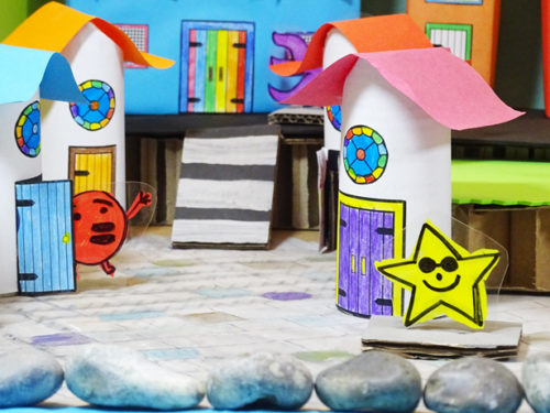 "Kids will love this DIY craft project via hello, Wonderful! blog for making a rainbow town from recycling materials! Plus more DIY kids crafts projects to keep the kids occupied so you can enjoy some ""me"" time!"