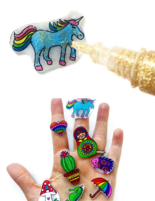 "Kids Craft Project Idea for making DIY Shrinky Dink Charms with free printable patterns - including a unicorn! - via Ooly blog! Plus more DIY kids crafts projects to keep the kids occupied so you can enjoy some ""me"" time!"