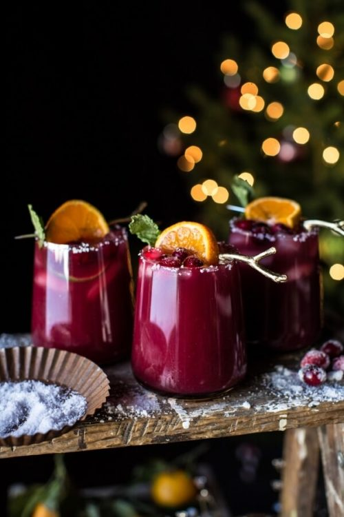 Holiday Inspired Cranberry Orange Margarita Cocktail Recipe via Half Baked Harvest! Plus more cranberry delights and a gift worthy DIY for making homemade Cranberry Fig Bath Truffles for homemade holiday gifts! #cranberry #food #cranberrysauce #cranberryrecipes #recipes #diy #gifts #holidays #christmas