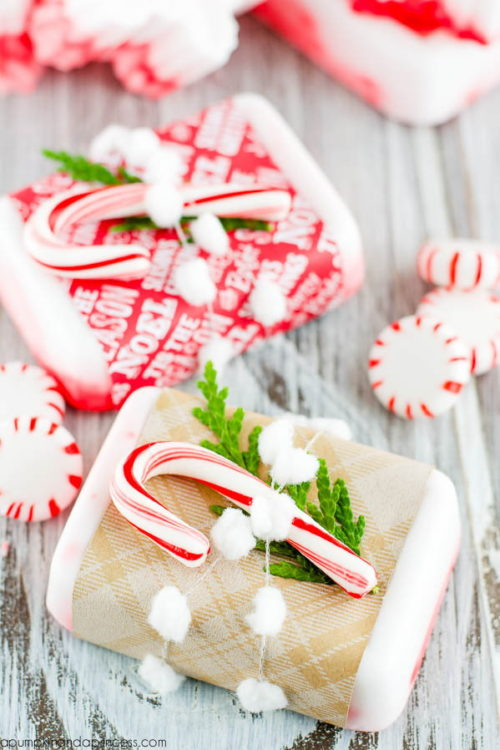 DIY Holiday Gifts! Make this easy 3-ingredient peppermint soap via A Pumpkin & A Princess to gift to friends and loved ones this holiday season!