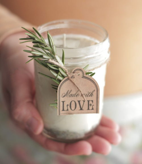 DIY Holiday Gifts! Make these lovely DIY lavender rosemary candles via Live Simply to gift to friends and coworkers this holiday season!