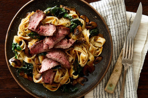 Tuscan Steak with Fettuccine and Three Peppercorn Sauce! Want home cooked weekday dinners you can make in 15 minutes or less? Try Gobble! They do all the prep work and send you easy one pan dinner kits that you can cook in 10 - 15 minutes. This has to be my favorite monthly home meal delivery service yet!
