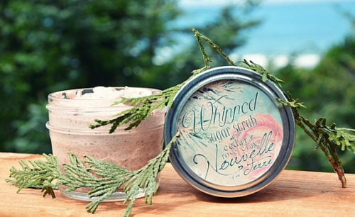 Best Whipped Sugar Scrubs to Buy or DIY! Organic Cedar & Rose Clay Whipped Sugar Scrub via Nouvelle Terre! Made without chemicals, this gentle and nourishing, exfoliating whipped sugar scrub intoxicates the senses and spirit into believing you've stepped into a cedar forest bathed in meadow blooms, flowers, and light.