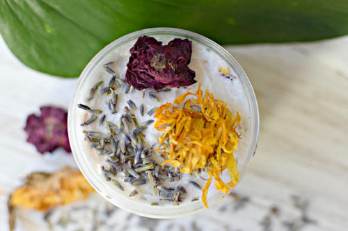 Best Whipped Sugar Scrubs to Buy or DIY! Floral Soul Emulsified Whipped Sugar Scrub via Sweet Nature's Beauty! This emulsified floral whipped sugar scrub is so dreamy! Made with all natural ingredients straight from the earth, use this sugar scrub on your hands and body with nature right at your fingertips. Made using dried calendula flowers, lavender buds, and rose petals combined with a floral, citrusy, yet rich and erotic aroma of the healing essential oils.