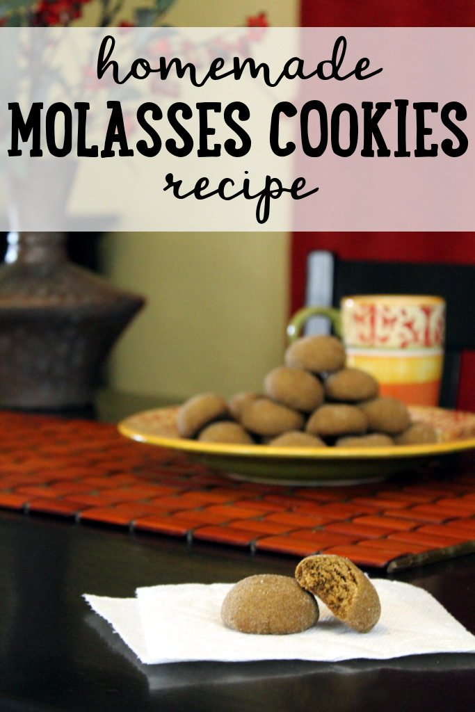 Homemade Molasses Cookies Recipe! If you're looking for a cozy dessert to enjoy with warm cocoa this winter, then give this molasses cookies recipe a try! You will absolutely love how these soft cookies taste. Made with blackstrap molasses, warming ginger, cinnamon and clove, these homemade molasses cookies are perfect for sharing with friends, family and co-workers. #recipes #cookies #molasses #baking