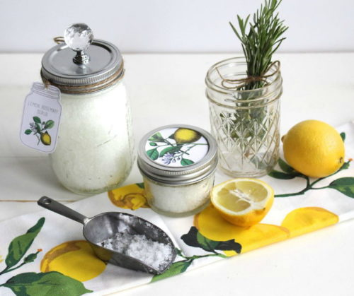 Mason Jar Crafts for Bath & Beauty Lovers! This Lemon Rosemary Scrub Recipe via Yesterday on Tuesday is made with naturally detoxifying and magnesium rich Epsom salt and boasts a fresh lemon scent. Plus there are free printable gift tags for the perfect homemade hostess gift! #masonjarcrafts #hostessgifts #bath #beauty #diy