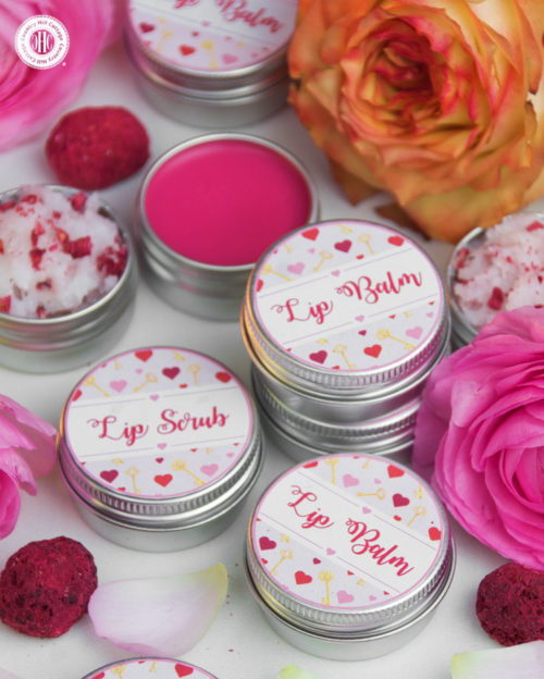This DIY lip scrub and lip balm duo via Country Hill Cottage make fabulous DIY Valentine's Day gifts for her! #valentinesdaygift #giftsforher #lipscrub #lipbalm #skincare #beauty