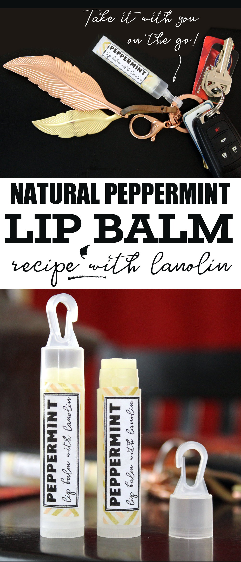 Best Peppermint Lip Balm Recipe! This natural peppermint lip balm recipe is crafted using only natural ingredients that work in tandem to promote skin health. You'll love the velvety smooth glide of this lip balm almost as much as much as its ability to soothe, moisturize and protect dry or chapped lips. While super awesome lip balm tubes with hooked caps mean you always have that protection at your fingertips wherever the day takes you. #diy #lipbalm #lipbalmrecipe