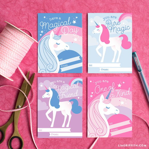 Homemade Valentine Ideas for Galentines both big and small! These printable unicorn Valentines from Lia Griffith are the perfect printable Galentines for little girls!