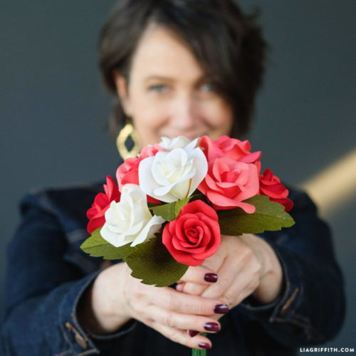 Flowers that never die make lovely last minute Valentine's Day gifts! Learn how to make these DIY Crepe Paper Rose Buds to gift as a bouquet to your Valentine at Lia Griffith blog!