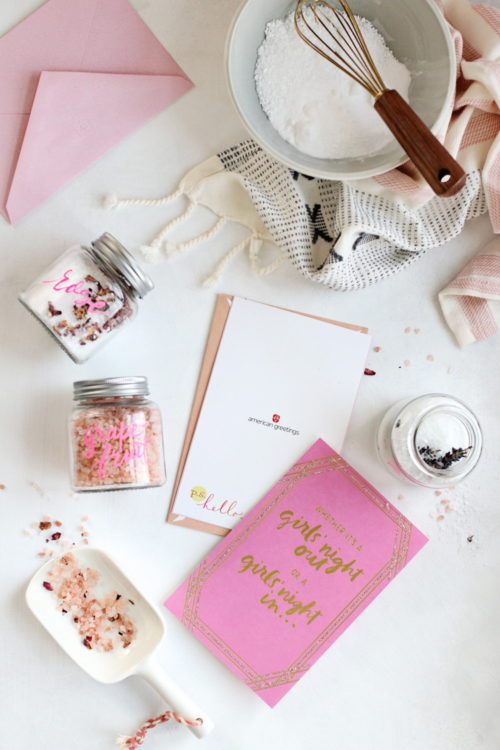 Homemade Valentine Ideas for Your Galentines! This DIY bath salt trio via Hello Glow makes a great Galentines day gift and reminds your friends that yes, self care is important!