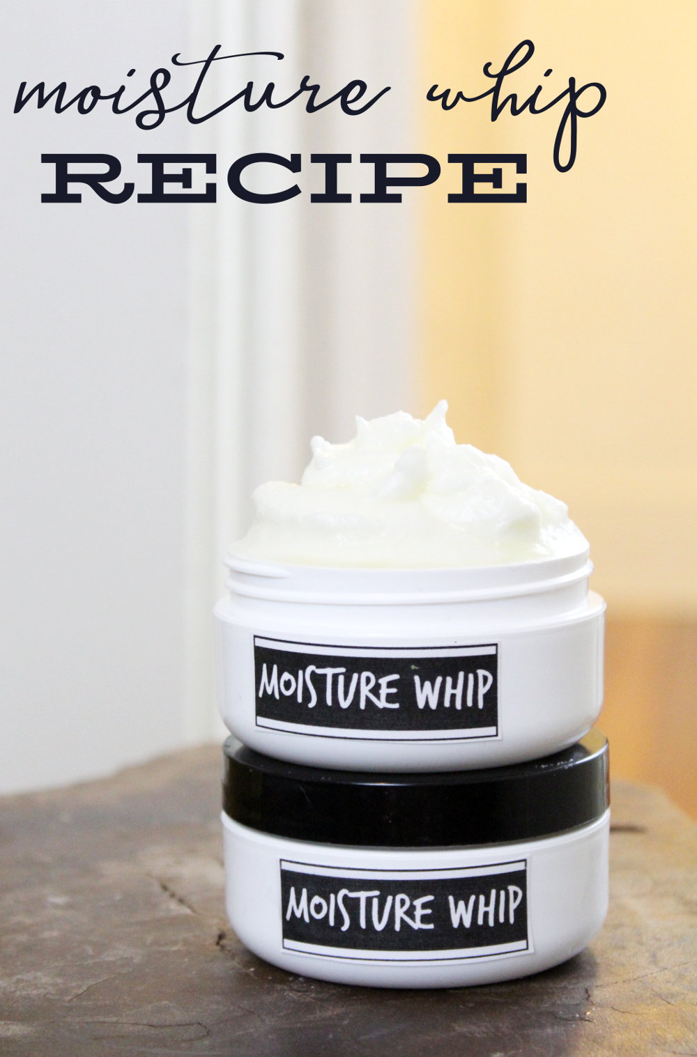 DIY Moisture Whipped Body Butter for Dry Skin! This soothing moisture whip recipe is an absolute dream for dry, parched skin. Crafted using natural ingredients, this ultra luxe moisturizer has a fluffy, cloud like texture that melts instantly into skin when applied. Skin soothing butters, aloe vera and witch hazel extract offer rich moisture that promotes skin health while a calming essential oil blend lends its aromatherapeutic properties. #moisturewhip #bodybutter #whippedbodybutter #diy