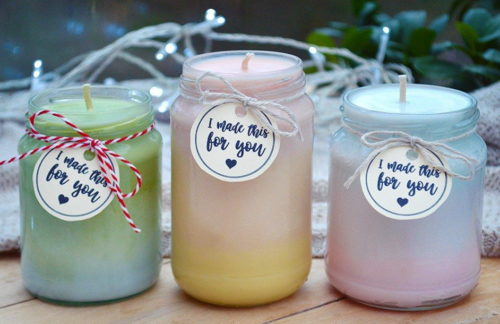 Flowers, chocolates and candles, oh my! If you're looking for homemade Valentine ideas for your Galentine this Valentine's Day, then you definitely want to consider these beautiful natural DIY ombre candles via Lovely Greens! As the gradient in these homemade candles changes, so does the fragrance for a fun and useful gift that friends and coworkers will love!