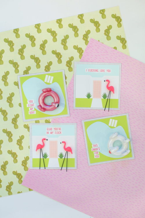 Homemade Valentine Ideas for Galentines! These free printable palm spring Valentines from Lovely Indeed are a fun way to celebrate the love between great friends. Flamingo and pool float figurines are attached to each printable using glue dots for a collection of four truly unique Valentine's! #valentines #valentinesday #galentines #printable #diy