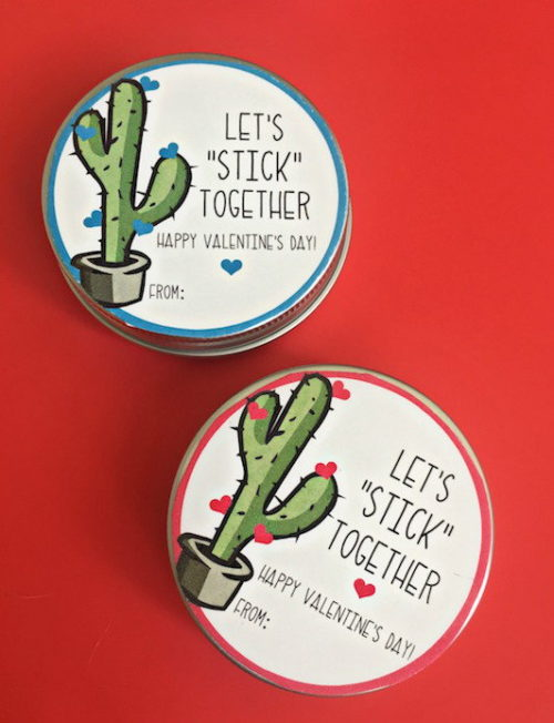 Homemade Valentine Ideas for Little Galentines! This DIY magnetic putty valentine via U Create is perfect for kids to gift one another on Valentine's Day! Simply print the free printable Valentine's Day themed labels onto sticker paper and adhere them to the lid of a magnetic putty tin!