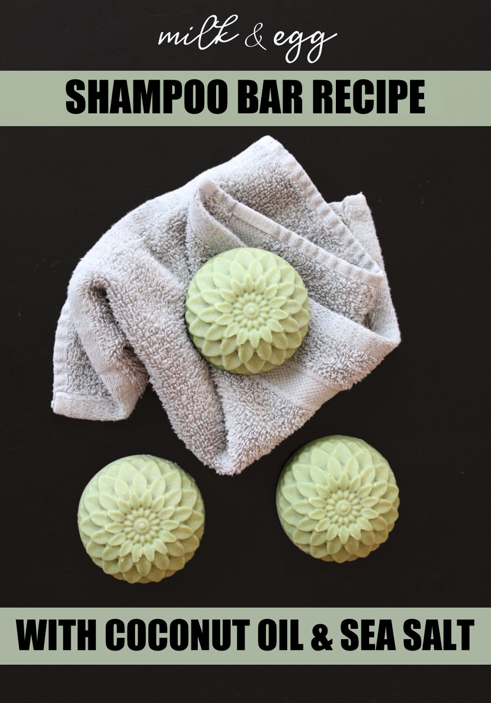 Sea Salt Shampoo Bar Recipe with Milk & Egg! Free of sulfates and surfactants, this sea salt shampoo bar recipe is made with simple ingredients for a healthy, natural hair care solution. Formulated using coconut oil for strong, shiny hair, this natural sea salt shampoo bar recipe also contains milk and egg to moisturize and condition hair. While ginger essential oil and sea kelp are also added for their hair care benefits. #shampoo #shampoobar #saltbar #soap #soapmaking #soaprecipe #haircare #diy #natural #essentialoils #milksoap #eggsoap