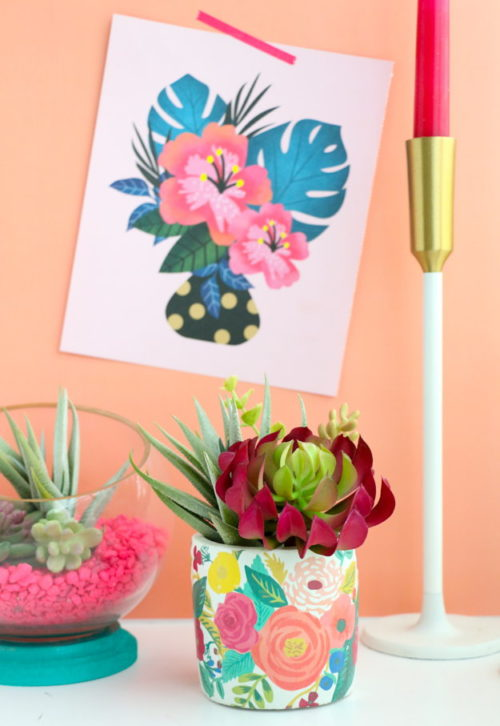 Spring Flower Craft Projects! Use tattoo paper to easily create a DIY flower planter to show off your spring flowers or succulents! These pretty floral planters are great for small spaces and windowsills. Or give them as homemade gifts for Mother's Day. Find the tutorial at A Kailo Chic Life.