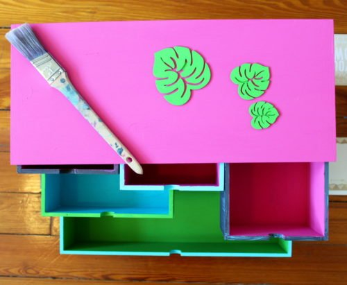 DIY Crafts Desk Organizer & Ikea Hack! Learn how to create your own bold DIY crafts desk organizer to create more storage space for your craft and office supplies with this easy & fun Ikea hack! #ikeahack #organizer #crafts #storage #moppe #storagechest #deskorganizer #deskstorage #craftsupplies #craftstorage #diy