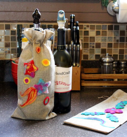 Craft night ideas for adults to make. Making needle felted wine bags is another easy yet incredibly fun project for ladies craft night. While this project takes a bit longer to complete, it can still made within 2-3 hours depending on the detail your guests want to put into their creations. I especially love this needle felting project because, not only do you learn a new craft, you also have an end product that makes a lovely handmade gift.