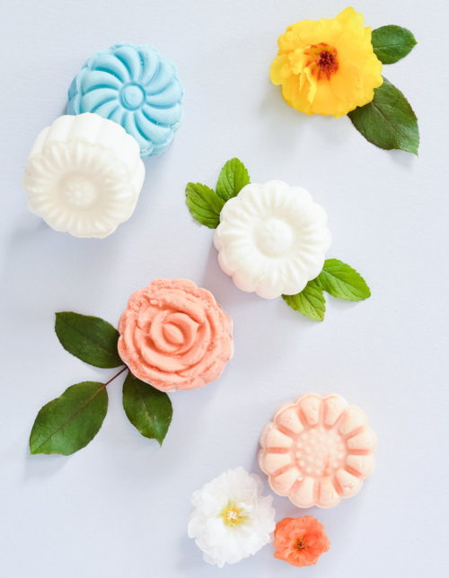 Spring Flower Craft Projects! These DIY flower shaped bubble bars from A Beautiful Mess are a fun way to celebrate spring! Made using mooncake press molds, these bubble bars create luscious natural bubbles in your tub when introduced to warm running bath water. Not only are these flower bubble bars a fun way to celebrate spring, but they make lovely gifts too!